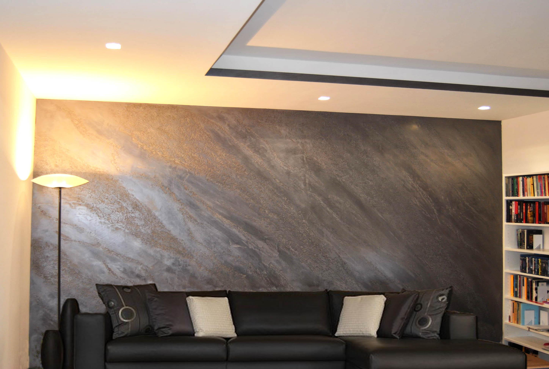 Pittura murale effetto cemento: soggiorno moderno angolo camino ...